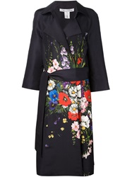 Oscar De La Renta Floral Bouquet Print Trench Coat Brown