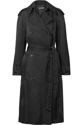 Tom Ford Double Breasted Twill Trench Coat Black