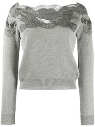 Ermanno Scervino Lace Top Cropped Sweater Grey
