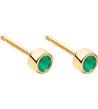 Astley Clarke Mini Stilla 14Ct Yellow Gold Plated And Green Agate Stud Earrings Yellow Vermeil