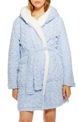 Topshop Fluffy Faux Fur Hooded Robe Light Blue