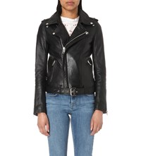 Maje Bocelui Leather Biker Jacket Black