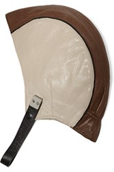 Marni Two Tone Leather Hat Brown