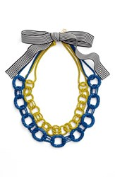 Women's Trina Turk Colored Chain Collar Necklace Gold Blue Multi