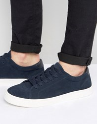 Asos Lace Up Trainers In Navy Real Suede Navy