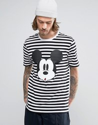 Asos Mickey Mouse Stripe T Shirt White Black