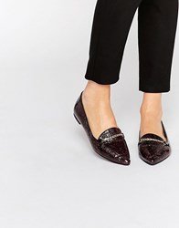Asos Livia Pointed Loafers Plum Snake Purple