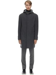 Z Zegna Hooded Double Face Wool Coat Grey
