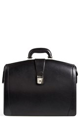 Bosca Men's Triple Compartment Leather Briefcase Black