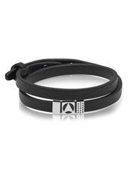 Northskull Insignia Black And Silver Double Wrap Bracelet