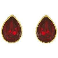 Eclectica Vintage 1980S Gold Plated Pear Shaped Glass Stone Clip On Earrings Ruby