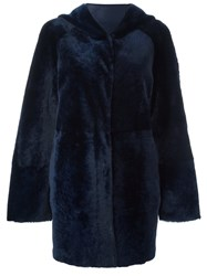 Drome Hooded Fur Coat Blue