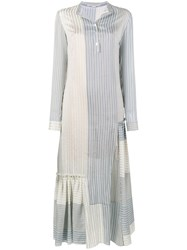 Stella Mccartney Striped Long Sleeve Dress Women Silk Cotton 42 Blue