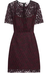 Sandro Reply Embroidered Lace Mini Dress Plum
