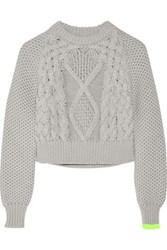 Maison Martin Margiela Mm6 Cropped Chunky Knit Cotton Sweater Light Gray