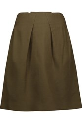 Roland Mouret Kava Pleated Stretch Wool Mini Skirt Army Green