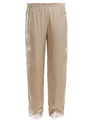Icons Buttercup Lace Trimmed Silk Pyjama Trousers Beige