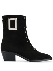 Dorateymur Buckle Detail Lace Up Boots Black