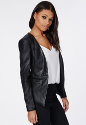 Missguided Faux Leather Fitted Blazer Black Black