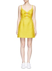 Chictopia Bow Front Rose Jacquard Dress Yellow