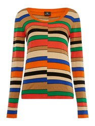 Paul Smith Ps By Striped Scoop Neck Jumper Multi Coloured Multi Coloured