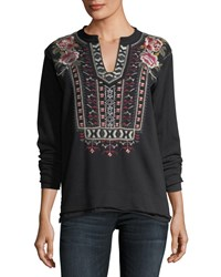 Johnny Was Issoria Embroidered French Terry Sweatshirt Black