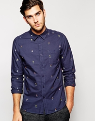 Asos Christmas Shirt In Long Sleeve With Embroidered Snow Scene Navy