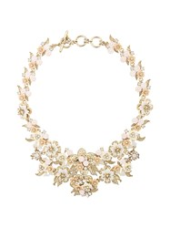 Marchesa Notte Floral Brocade Collar Yellow And Orange