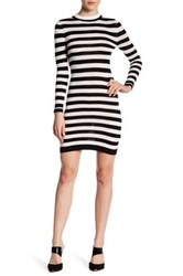 French Connection Sydney Stripe Knit Long Sleeve Dress Black