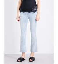 Helmut Lang Cropped High Rise Jeans Light Blue