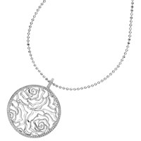 Dower And Hall Wild Rose Flower Disc Pendant Necklace Silver