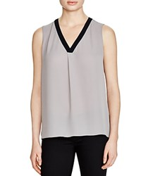 T Tahari Julie V Neck Sleeveless Top Silverpoint Navy