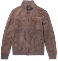Bottega Veneta Slim Fit Intrecciato Trimmed Suede Bomber Jacket Brown