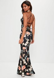 Missguided Black Cross Back Plunge Floral Fishtail Maxi Dress