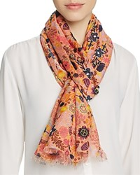 Altea Embroidered Floral Print Scarf Pink Multi
