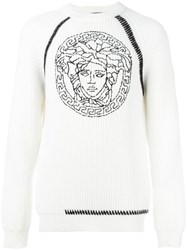 Versace Embroidered Medusa Sweater White