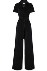 Alice Olivia Gorgeous Belted Cotton Blend Corduroy Jumpsuit Black