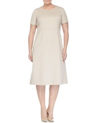 Marina Rinaldi Dativo Short Sleeve Wool Blend A Line Dress Women's Ice Beige