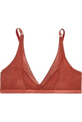 Lonely Thea Metallic Stretch Mesh Soft Cup Triangle Bra Brick