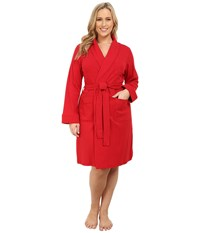 Lauren Ralph Lauren Plus Size Essentials Quilted Collar And Cuff Robe Holiday Red Women's Robe