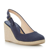 Dune Karley Closed Toe Espadrille Wedge Navy