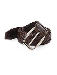 Brioni Woven Leather Belt Brown