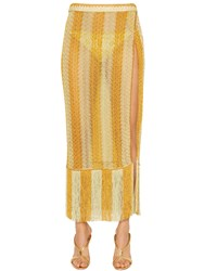 Missoni Striped Lace Knit Midi Skirt With Fringe