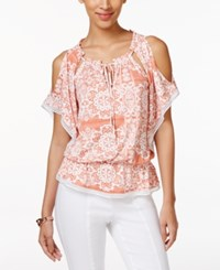 Eci Printed Cold Shoulder Peasant Blouse Coral Print