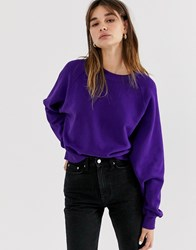 Weekday Organic Cotton Oversized Sweatshirt In Purple