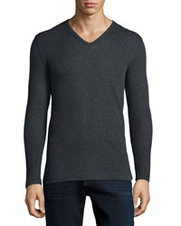 Majestic Cotton Cashmere V Neck Sweater Charcoal Grey