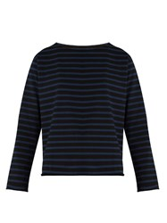 Mih Jeans Simple Mariniere Striped Cotton Jersey Top Black Blue