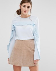 Fashion Union Long Sleeved Top With Pleated Ruffle Trim Pale Blue White