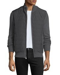 Neiman Marcus Quilted Water Repellent Jacket With Knit Trim Gray