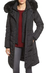 1 Madison Women's Faux Fur Trim Hooded Down And Feather Fill Long Coat